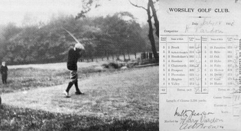 Harry Vardon driving from the 1st tee in 1903; and His scorecard